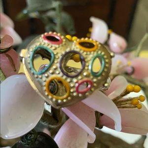 Vintage 925 secrets ruby in heart locket ring